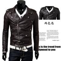 Top quality 2014 NEW men's leather belt oblique zipper collar short leather fashion male jacket Leather jacket Wholesale JK0002