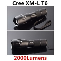2014 Hot Sale 2000lM CREE XM-L T6 LED 5 Modes Zoomable Adjustable LED Flashlight Torch Lamp (18650&AAA) For Camping