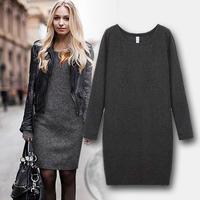 2014 New Autumn winter women's  European style fashion big yards thick velvet dress women casual pullover