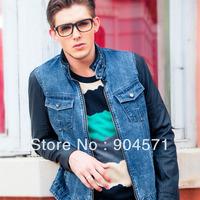 2014 Autumn Winter Denim Jacket Men Patchework Long Leather Sleeve Stand Collar Zipper Coat Slim Casual Outcoat Plus Size XXL