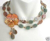 Hot Fashion Jewelry Beautiful Lady's Stylish GOLDEN MOP FLOWER AUTUMN JASPER ONYX pearl necklace / free shipping