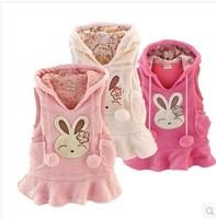 Flannel sping autumn winter girl outwear long vest coatsLotus leaf edge rabbit  print