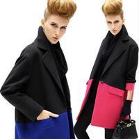 New 2014 Winter Woolen coat casual European version new Women patchwork Slim one button long sections wool outerwear 332