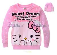 Free shipping children hoodies cute Hello Kitty baby girls t shirt casual kids garment 6pcs/lot