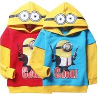 New kids despicable me minion hoodies girls boys sweatshirts tops kids children hoodies Autume winter cartoon coat in stock