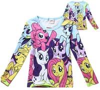 Wholesale 5pcs/lot Cartoon Girls Kids Tee Shirt 2-8yrs Childrens 100%Cotton My Little Pony T-shirts Autumn Clothes Full Sleeve
