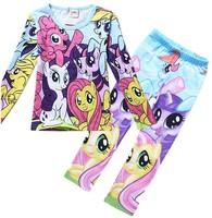 Girls dress free shipping my little pony pony treasure spring /autumn period long sleeve T-shirt + leggings 1Set/lot