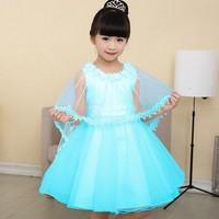 summer Frozen dress, kids party dress,Animated cartoon dress,baby girls long-sleeved .Girls dress + cloak
