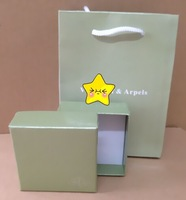 7x1cm Green Jewelry Sets paper Box with paper bag for four leaf clover Earrings Ring bracelets Band Gift Box Red Packaging