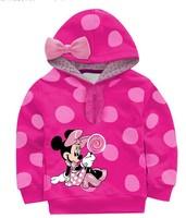 New girls cartoon minnie printing dot hoodies kids lovely sweatshirts with cap children's leisure Autumn hoody tops 3 colors