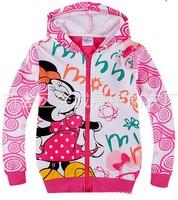Hot kids cartoon minnie outerwear girls Autumn Spring hello kitty coat children's leisure cotton jackets wholesale 6pcs/lot