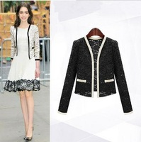 Black/White Spring 2014 Female Coats Womens Short Jackets lace for Lady's Blazer Cardigan Cheap Free Shipping 768