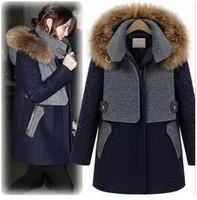 2014 Autumn/winter new design fur collar woolen coat women clothing wool jacket coat women fur jackets 381