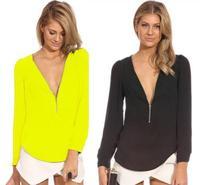 New 2014 Women Blouses Long Sleeve Casual V-Neck Zipper Chiffon Blouse Plus Size Blusas Femininas Shirt Tops Sale 338