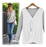 New Autumn 2014 High-Density Women Knitted Chiffon Patchwork Blouse Long Sleeve V-neck Shirt 337
