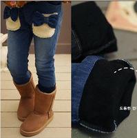 2014 new children's clothing for girls winter bow plush velvet pants pocket jeans plus thick velvet pants for children