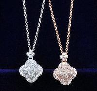 Brand New 18K Gold Plated Micro prong setting swiss zircon clover pendant Choker necklace elegant design jewelery fashion