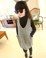 wholesale(5pcs/lot)-child girl  autumn and winter  V collar grey all-match woolen suspenders dress