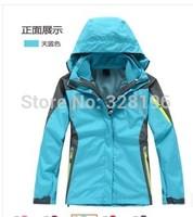 New model Women's winter windstopper Jackets sport Outerwear Camping Windproof Coats 2in1 jacket Sky blue