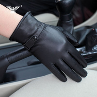 2014 new winter warm padded leather glove lady sheep skin brigor Korean finger