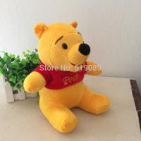 Free Shipping 35cm(Sitting high 25cm) Winnie Yellow Bear Stuffed Animals Toys Plush Doll for Christmas gifts