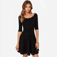 New Sweet Scallop Charm Collar Half Sleeve Sexy Black Dress For Women Summer Dress 2014 Pleated Party Dresses Vestidos D025A1W