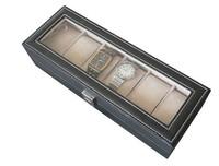 High-quality 6 Grid Faux Leather Watch Jewelry Display Show Case Box Storage Organizer Holder