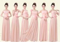 HOT chiffon bridesmaid dress 6 style A-F incarnadine pink 2014 new floor length long women party dress S-XXL