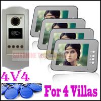 "Sale! 8"" Video Door Phone intercom system Support ID CARD unlock function ( 4 buttons outdoor unit +4pcs 8"" indoor units )"