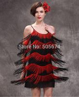 Women Latin Ballroom Dance Dress Girls Tassel Evening Party Salsa Cha Cha Tango Costume