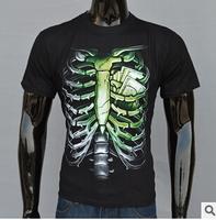 2014 Brand New Design Men Shirt high quality  t shirt men Slim Fit Personality printed 3D skull short sleeve o-neck t shirt