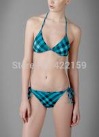Promotion! Fashion Sexy Beach Wears Classic Plaid Women's Bikinis Set Famous Name Lady Swimwears Free Shipping