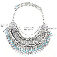 wholesale 2014 bohemian turkish tassels drop vintage sliver statement jewelry necklace for women