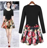 New 2014 Fashion Women Embroidered Elegant Print Floral Runway Dress European long-sleeved  Winter Knitting Dresses