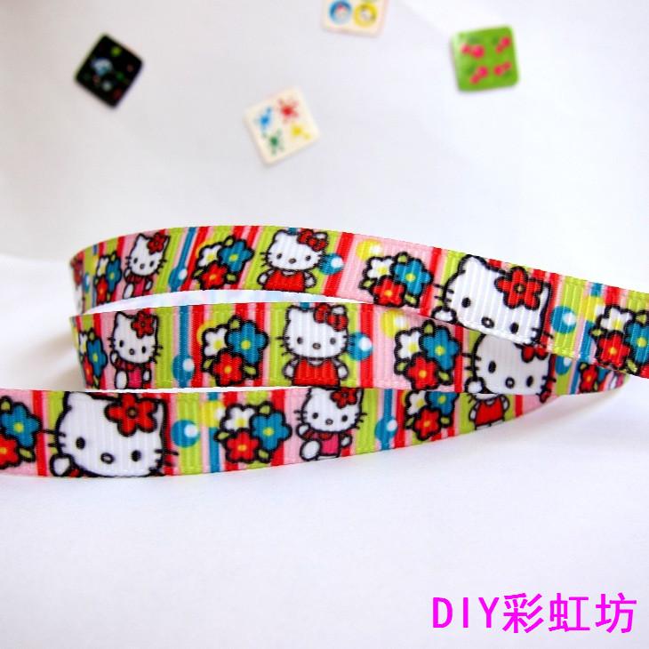 "2014 Wholesale Free Shipping 20 Yards 3/8""9mm kitty cat Grosgrain Polyester Printed DIY Hair Bow Ribbons Riband(China (Mainland))"