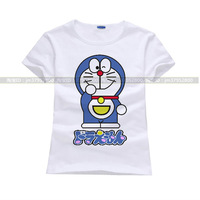100%cotton free shipping women t shirt Cute cartoon pattern doraemon Casual prints short sleeve lady t-shirt