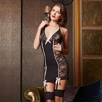 French Beauty Black Silk Mesh Translucent Sexy Lingerie Costume