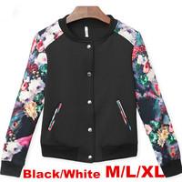 New Street Style Black/White Baseball Thin Flower Printed Women's Coat Jacket  Short Floral Jackets Women 2014Early Autumn