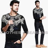 New 2014 men long sleeve t shirts superior elasticity lycra cotton mens casual shirt autumn sport tees free shipping