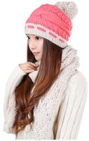 hot sale Winter Korean tide fashion lady wool hat scarf two piece suit warm winter