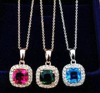 NEW 18K Gold Plated Austria Crystal Princess Square shape design fashion pendant necklace fashion
