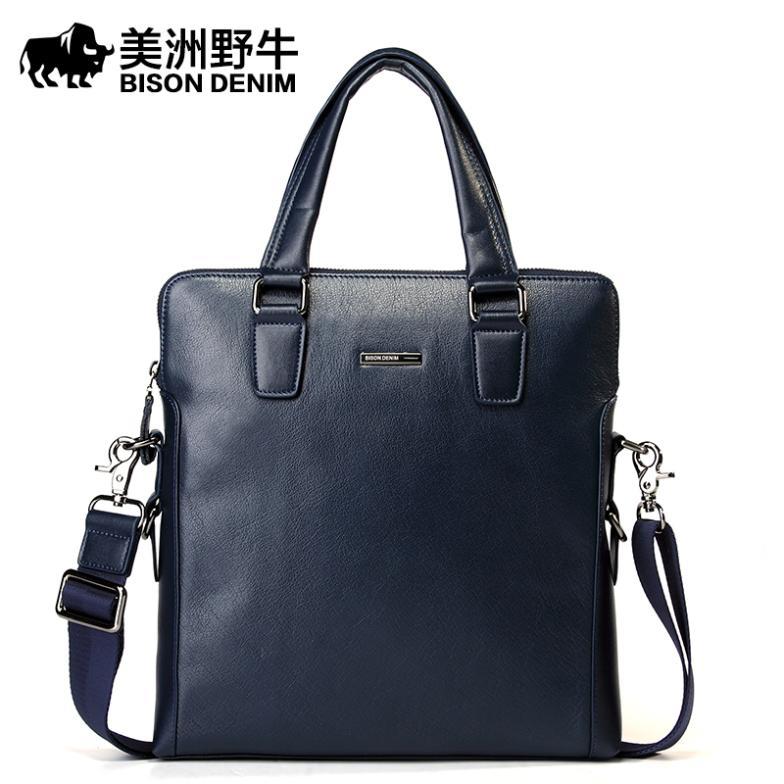 American Bison Head American Bison England Men 39 s Handbag Shoulder Bag Leather Man Bag Business
