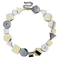 2014 newest za brand gold geometric bib chunky choker necklace for women luxury statement alloy necklaces