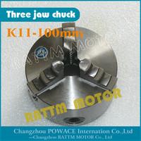 Manual chuck Three jaw self-centering chuck K11-100mm 3 jaw chuck  Machine tool Lathe chuck