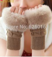Fashion Warm Winter gloves  women fingerless gloves Knitted Fur wool  Trim gloves Mitten
