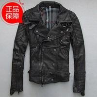 Europe and America Oblique zipper motorcycle clothing Slim sheepskin Tide men fashion genuine leather jacket coat for man