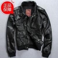 Rib hem men's self-cultivation Lapel calfskin leather flight suit jacket leather Motorcycle clothing