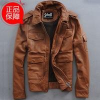 Multi-pocket Thick Cowhide Flight suit slim fashion genuine leather jacket coat for man sand washing do old style