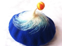 Unique Hand made 100% wool felt berets hat whirly hat Artist Beanie Hat free shipping