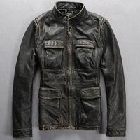 Men winter coat retro leather men's slim sand washing cowhide leather jacket GENUINE leather jacket motorcycle hunting clothing